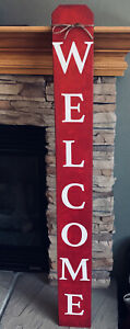 """48"""" Large Vertical Red Welcome Sign, Hand Painted Rustic Wood Porch Sign"""