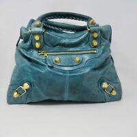 Balenciaga Giant Chèvre Handbag Tote Green Leather Gold Stud Large 2123