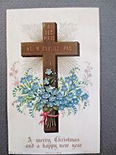 Antique CHRISTMAS Card 1875 Christian Cross French Aubrey & Co Paris Marion & Co