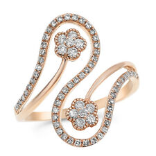 Cocktail Crossover Flower Right Hand Ring 14K Rose Gold Pave Round Diamond
