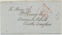 """GB 1846 stampless printed matter to CASTLE DOUGLAS with red boxed """"DUMFRIES"""