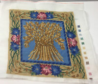 """Vtg Needlepoint Completed Wheat Autumnal Floral Throw Pillow 14.5"""" Sq Stitchery"""