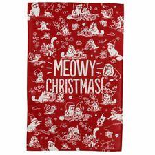 SIMON'S CAT MEOWY CHRISTMAS TEA TOWEL RED.
