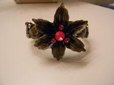 NEW Chico's Enamel Rhinestone Flower Cuff Chunky Hinged Bracket NWT