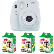 Fujifilm instax mini 9 Instant Film (Smokey White) Camera  + 60 Mini Prints
