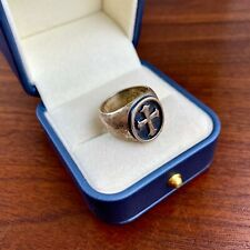JAMES AVERY STERLING SILVER CROSS SIGNET RING - SIZE 9
