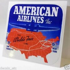 American Airlines Vintage Style Travel Decal / Vinyl Sticker, Luggage Label