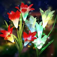 2 Pack Solar Powered Decorative Lights with 8 Lily Flower, Multi-Color Changing