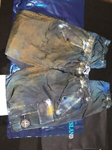 Stone Island Supreme Painted Camo Dark Teal Nylon Cargo Trousers Size Large