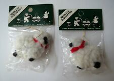 2 White Sheep 1984 Midwest Importers Folk Country Wooly Xmas Ornaments Sealed