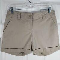 TOMMY BAHAMA Size 0 Beige Khaki Stretch Cuffed Shorts Womens Chinos