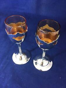 Vintage Cocktail Glasses Chromium Plated