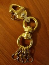 Bronze EDC Shackle Carabiner, Keychain, Key Ring with Large Brass Double Swivel