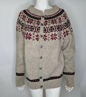 Womens M Cardigan Sweater Nordic Tan Red Danspin Hand Knitted Wool Scandinavian