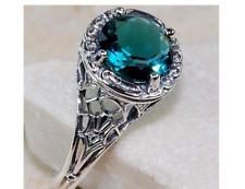 Blue Topaz 925  Sterling Silver Art Deco Filigree Ring  -#W5-51