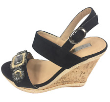Womens Ladies Black Faux Suede High Wedge Heel Shoes Sandals Size UK 4 5 6 8 New