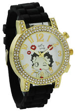 Betty Boop W072 Women's Blowing Kisses Gold Tone Blk Silicone Band Crystal Watch