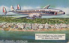 Postcard 1109 - Aircraft/Aviation Super-C Constellation over Miami Beach