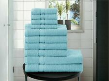 BLUE 100% EGYPTIAN COTTON TOWEL BALE SET 10 PC HAND FACE BATH SHEET BATHROOM