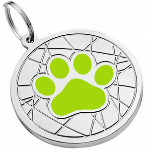 PERSONALIZED ID DOG CAT CHARM PET TAG CUSTOM ENGRAVED ENAMEL TAGS S M L DOGS