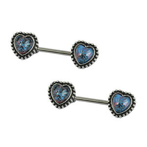 Nipple Rings of Heart Shaped with Glass Gem 14ga Pair