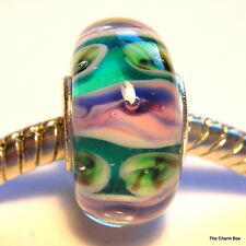'WISTERIA' Deep Turquoise/Green/Lilac  Murano Glass European Charm Bead