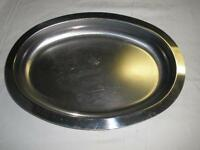 LOVELY STAINLESS STEEL SERVING PLATTER OVAL MADE IN USA