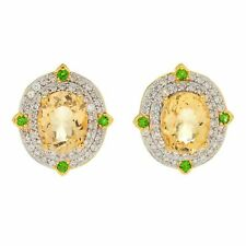 Victoria Wieck Collection 6.33ctw Yellow Beryl & White Zircon Halo Stud Earrings
