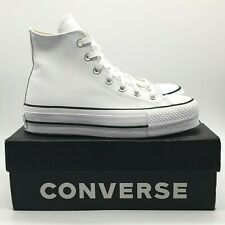 Converse Chuck Taylor All Star Hi Platform Girls Sneakers White Leather UK 4