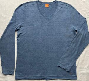 HUGO BOSS Blue Finely Knitted Jumper Pullover L Large Cotton Linen Blend V-neck