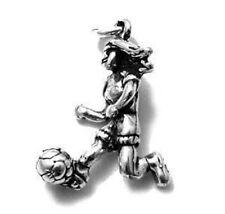 925 Sterling Silver 3D Soccer Girl Charm
