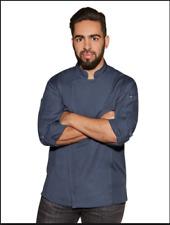 New Three $135 Chef Works Chefs Coat Denim Blue Cotton Jacket Unisex Men Large L