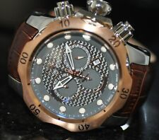 Invicta Mens Rare Venom Swiss Reserve Chrono Grey Dial Brown Leather Watch 15466