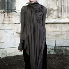 GOTHIC LONG SLEEVES DRAPE ASYMMETRICAL HEM WRAP DRESS SHIRT BLOUSES