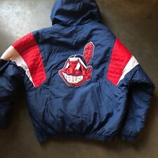 Men's Vintage Starter Cleveland Indians Chief Wahoo Navy Blue Puffer Jacket Sz M