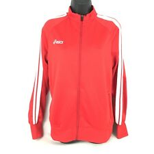 Asics Track Jacket Red White Striped Womens Size XL