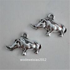 10pc Tibetan Silver Rhinoceros Animal Pendant Charms Beads Jewellery  JP1090