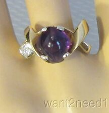 estate modernist 14K AMETHYST CABOCHON RING sz 7.5 emerald cut DIAMOND ACCENT