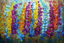 Original Painting Summer Flowers Impasto Oil on Large Canvas Art by Luiza Vizoli