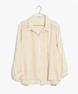 NWT Madewell Striped Gauze SHIRT Drop Shoulder WHITE Popover Top X-SMALL XS S