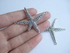 10 Tibetan Silver Tone Starfish Connector Charms Pendants For Jewellery Making