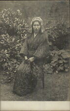 Japanese Woman Wearing Kimono Sitting in Garden c1910 Real Photo Postcard