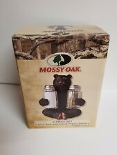 MOSSY OAK CABIN DECOR 3 PIECE SET FIGUARAL BEAR WITH SALT AND PEPPER SHAKERS