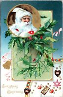 Raphael Tuck Santa Claus in White Robe Embossed Vintage Christmas Postcard LG
