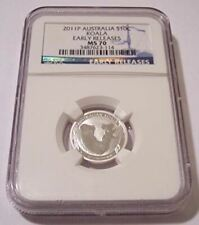 Australia 2011 P 10 Cents 1/10 Ounce Silver Koala MS70 NGC Early Releases