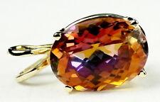 • P040, 6 carat Twilight Fire Topaz, 14k Yellow Gold Ladies Pendant - Handmade