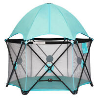 Portable Playpen with Removable Canopy Baby Kids Safety Playard Indoor/Outdoor