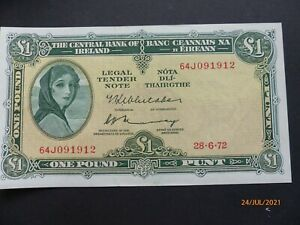 """Central Bank of Ireland """"Lady Lavery"""" One Pound Note"""