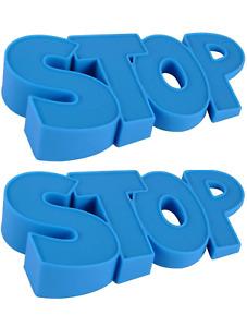 2 PACK Blue Rubber Door Stopper Teacher School Classroom Children Kids FUN STOP