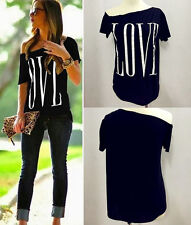 New Summer Women Sexy Fashion Loose Short Sleeve Tops Casual T-Shirt Love Blouse